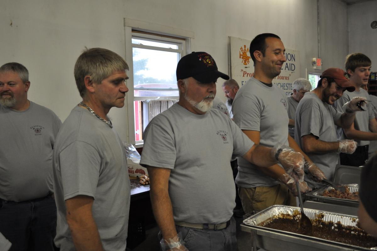 Chief Mank overseeing operations - Fire Associations 2016 Bean Hole Supper 8/13/2016