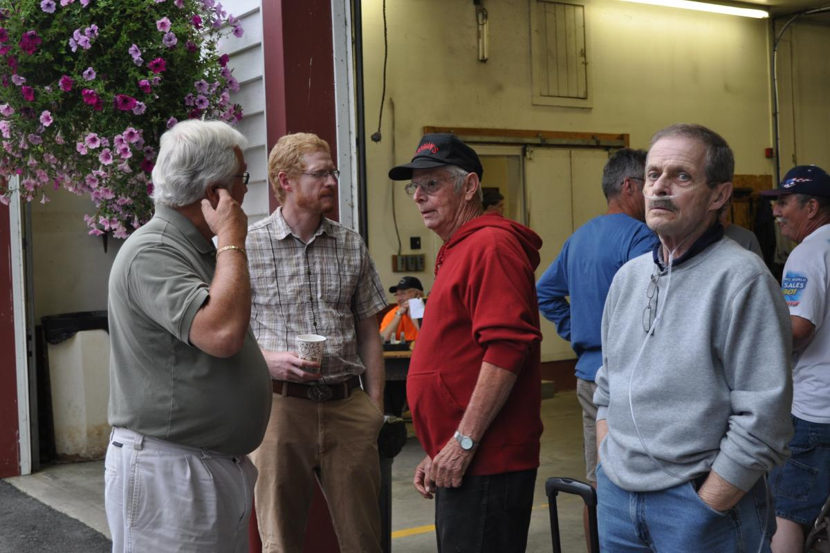 Daniel Harriman in red the person for which the fire station named - Fire Associations 2016 Bean Hole Supper 8/13/2016
