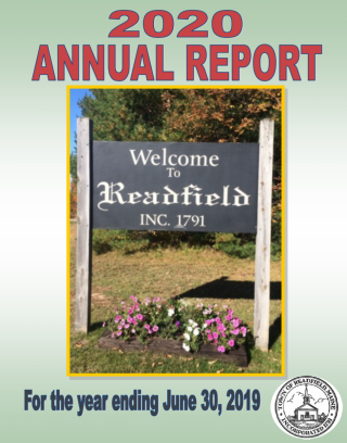 town report cover with the welcome to readfield sign